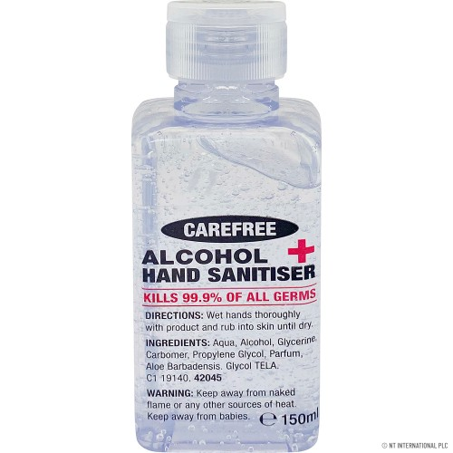 ANTIBACTERIAL ALCOHOL HAND GEL SANITISER KILLS 99.99% BACTERIA AND GERMS QUICK DRYING 150ML