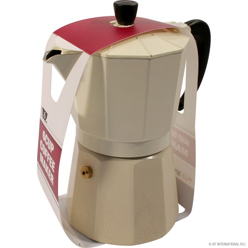 6 Cup Coffee Maker With Printing Cream Colour