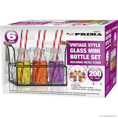 6pc Vintage Style Glass Mini Bottle Set including Metal Stan