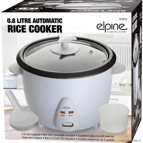 0.8 LTR. Rice Cooker 350W (With Measuring Cup & Spoon)