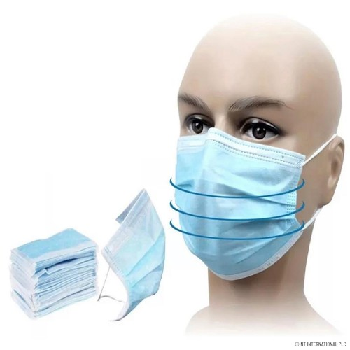 DISPOSABLE BREATHABLE FACE MASKS WITH EAR LOOPS, CUP MASKS, 3 LAYERS-PLY