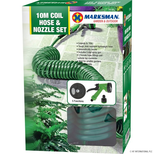 10m Coiled Hose with Plastic Fittings