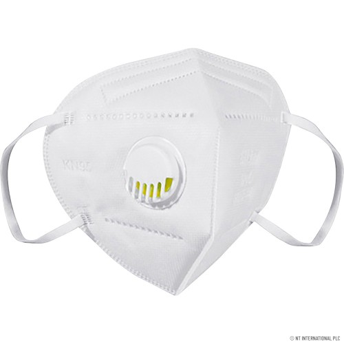 KN95 WHITE DISPOSABLE FACE MASK WITH VALVE